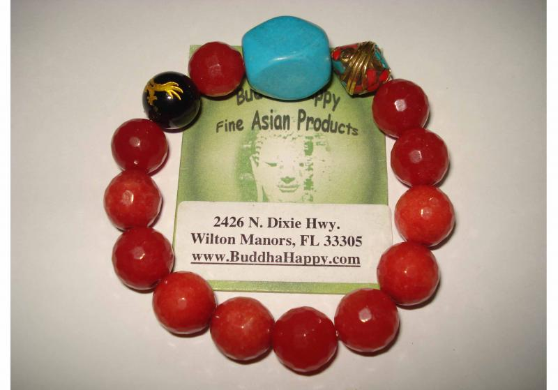Red Quartze Dragon Tibetan Mantra 10mm