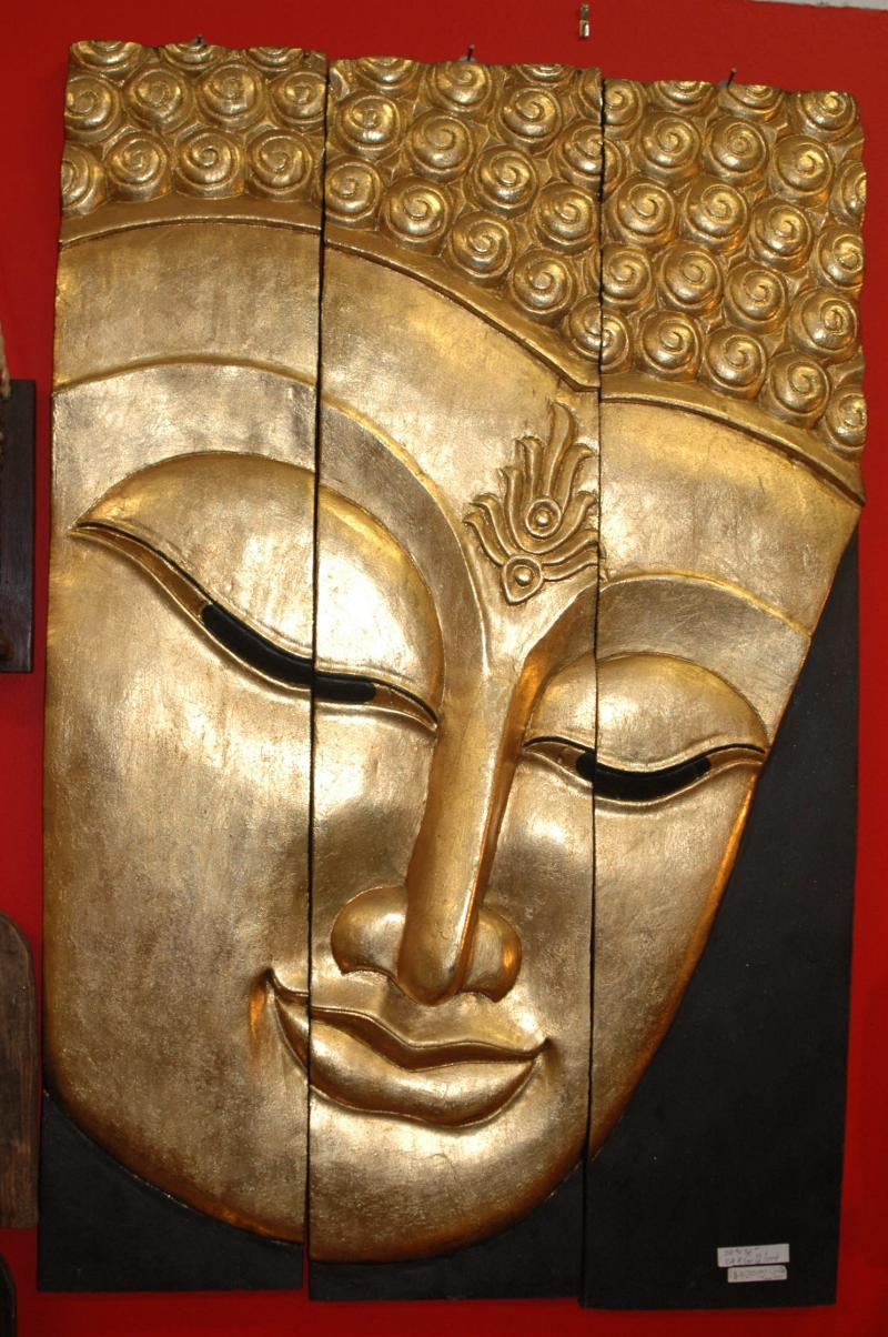 Large 3 Pannel Buddha Face