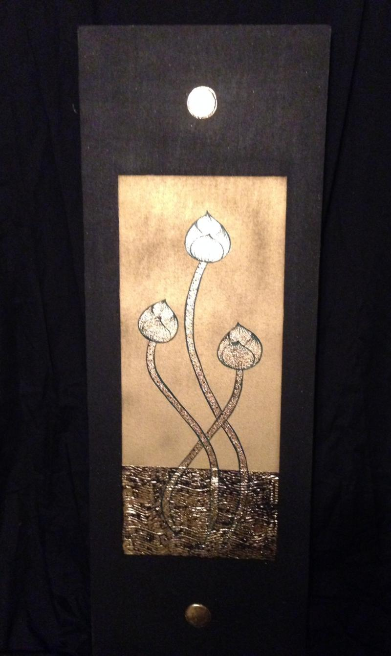 "Three Intertrining Lotus Flowers Black and Gold   14"" by 40"""
